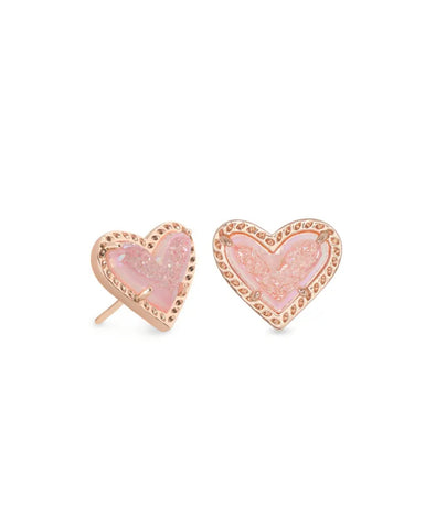 Ari Heart Rose Gold Stud Earrings In Light Pink Drusy