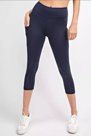 Navy Ultimate Side Pocket Crop Leggings