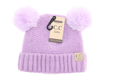 C.C Beanie: Kids Solid Double Fur Pom