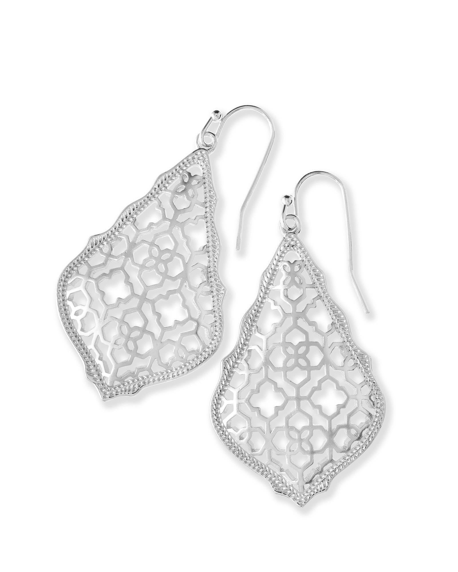 Addie Silver Drop Earrings In Silver Filigree Mix