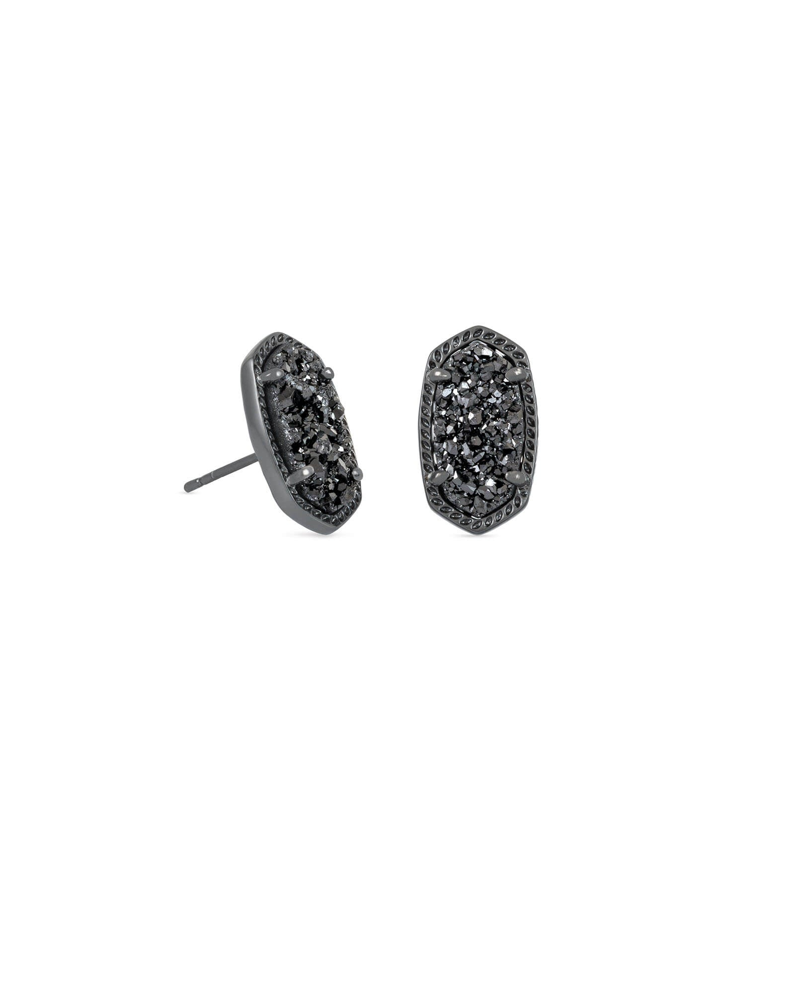 Ellie Gunmetal Stud Earrings In Black Drusy