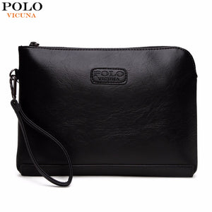 VICUNA POLO England Style Leather Envelope Clutches For Men High Capacity Male Clutch With Wristbands Zipper Open Mens Wallet