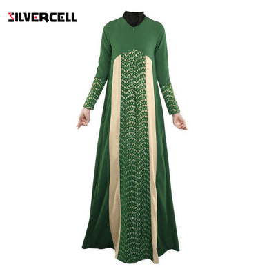 Hot Ladies Muslim Kaftan Arab Jilbab Abaya Islamic Stitching Long Sleeve Maxi Dress New