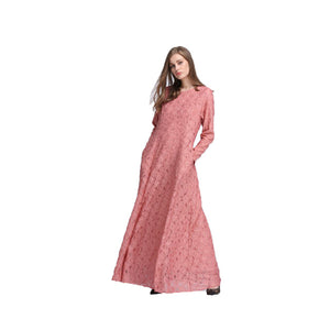 Fashion Women Lace Abaya Slim Maxi Dresses Arab Robes Islamic Dubai Turkey Muslim Gown Dress Instant Hijab Bodycon Vestido 065