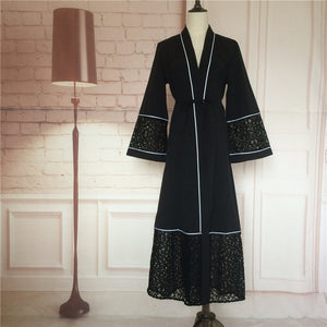Muslim Abaya Lace Cardigan Robes Vestido Black Style Maxi Dress Women Arab Turkish Worship Islamic Dubai Turkey Instant Hijab 06