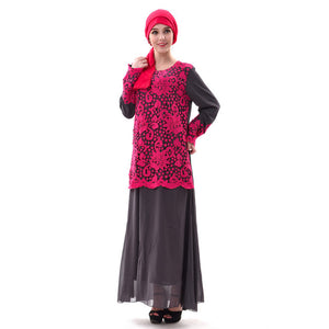 Muslim Women Lace Abaya Saudi Maxi Dress Kaftan Arab Robes Islamic Kimono Burka Dubai Turkey Patchwork Vestido Instant Hijab
