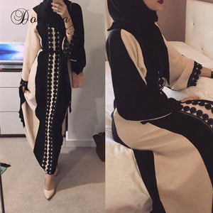 Elegant Muslim Arab Open Abaya Dress Cotten Linen Lace Cardigan Long Robe Ramadan Dubai Kimono Islamic Prayer Worship Service