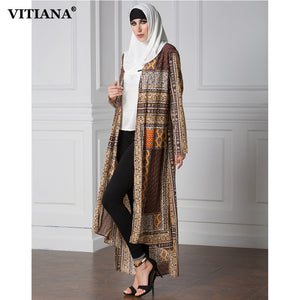 VITIANA 2017 Womens Long Islam Muslim Robe Dress Print Long Sleeve Loose Clothing Islamic Abaya Plus Size 7XL With Belt