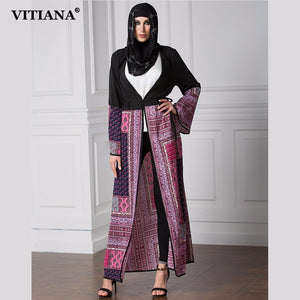VITIANA 2017 Womens Long Islam Muslim Robe Dress Black Print Long Sleeve Loose Clothing Islamic Abaya Plus Size 5XL With Belt