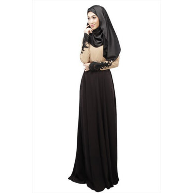 Women\'s Kaftan Abaya Jilbab Islamic Muslim Lace Embroidered Women Maxi Dress LM7993