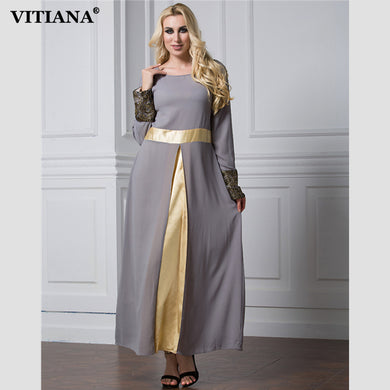 VITIANA 2017 Womens Long Islam Muslim Robe Dress Gray Patchwork Long Sleeve Vintage Chiffon Clothing Islamic Abaya Plus Size