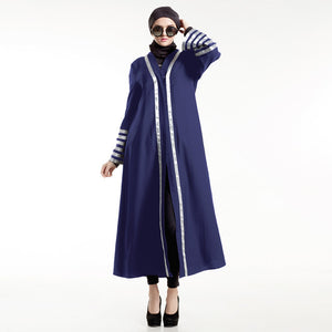 Casual Maxi Dress Muslim Women Abaya Stripe Cardigan Long Sleeve Loose Style Middle East Robe Gown Ramadan Arab Islamic Clothing