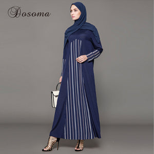 Muslim Dress Abaya Chiffon Striped Kimono Jilbab Long Robe Gown Cardigan Jalabiya Loose Style Middle East Islamic Clothing Party