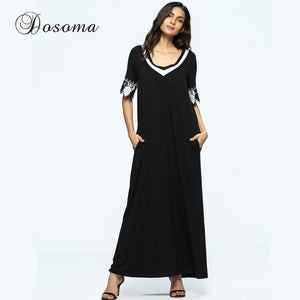 Casual Muslim Abaya Maxi Dress Lace Flower Loose Style Women Robe Summer Moroccan Burka KaftanHijab Islamic Middle East Arab