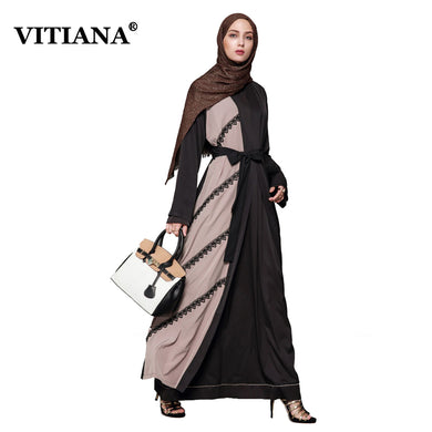 Puls Size 4XL Muslim Maxi Long Dress Woman 2017 Autumn Elegant Dresses Female Long Sleeve Belt Ankle-Length Islamic Abaya Robe