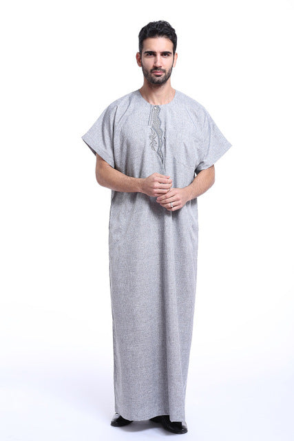 Muslim Jubba Thobe Islamic Men's Clothing Short Sleeve Shirt Abaya Plus Size Jilbab Moslem Robe Middle East Kaftan Dubai Arab