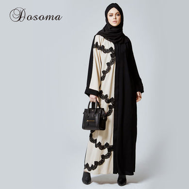 Muslim Women Abaya Lace Maxi Dress Cardigan Jilbab Nida Loose Style Middle East Long Robe Dubai Ramadan Arab Islamic Clothing