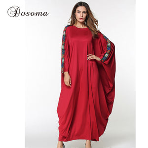Casual Women's Abaya Maxi Dress Embroidery Bat Sleeve Loose Style Muslim Middle East Long Robe Ramadan Arab Islamic Clothing