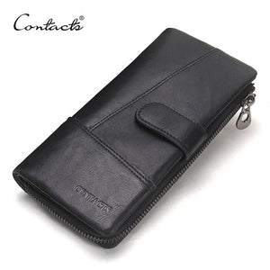 CONTACT'S Genuine Leather Long Wallets Top Quality Male Clutch Zipper Around Wallet Men Money Bag Pocket Mltifunction Purse New