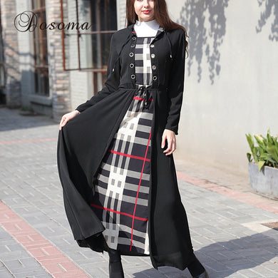 Casual Muslim Women's Abaya Plus Size Chiffon Hooded Dress Long Sleeve Jubah Ramadan Malaysia Middle East Arab Islamic Clothing
