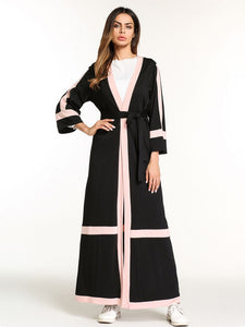 Casual Women's Maxi Dress Open Abaya Tunic Long Robe Gowns Loose Style Muslim Middle East Moroccan Ramadan Arab Islamic Clothing