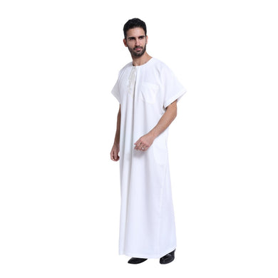 2018 Fashion Men Arab Kaftan Saudi Thobe Thoub Abaya Robe Daffah Dishdasha Muslim Clothing For Men Hot