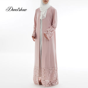 Fashion Laser Engraving Muslim Dress Abaya Cardigan Islamic Clothing Women Jilbab Djellaba Robe Musulmane Turkish Baju Kaftan
