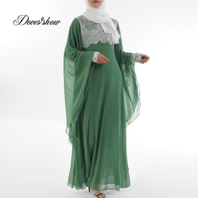 Fashion Green Positioning lace Muslim Dress Abaya in Dubai Islamic Clothing Women Jilbab Djellaba Robe Musulmane Turkish Baju