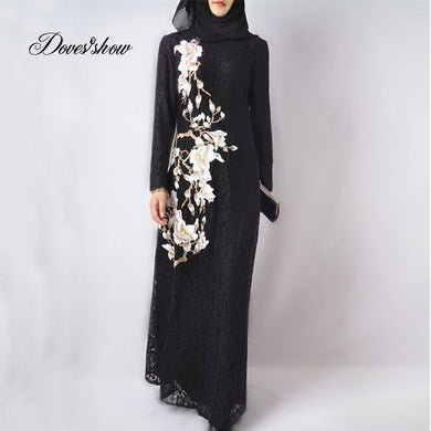 EID GIFT Muslim Dress White Lace Floral Embroidery Abaya in Dubai Islamic Clothing Women Jilbab Djellaba Robe Musulmane