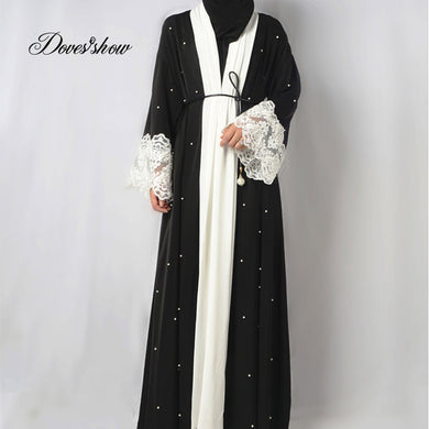 Fashion Muslim Dress Abaya in Dubai Nida with Pearl Islamic Clothing For Women Jilbab Djellaba Robe Musulmane Turkish Baju 5XL