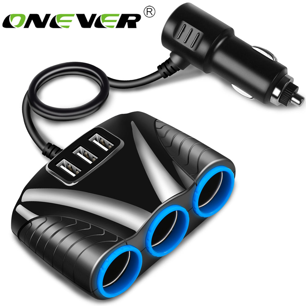 Onever 1 to 3 Car Cigarette Lighter Socket 5V 3.1A3 USB Adapter Splitter for iPhone iPad Smartphone Car Kits