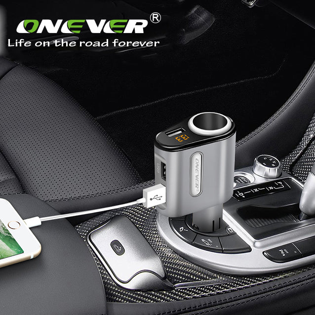 ONEVER C31 Cigarette Lighter Socket  3.1A 3 USB Car Adapter Charger  with Volmeter isplay Support Smart Fast Charging