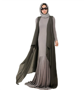 Fashion Flared Linen Muslim Dress Abaya S-XXXL