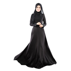 New Kaftan Abaya Dress Muslim Islam Women Jilbab Long Sleeve Maxi Dress Solid Color  PY3