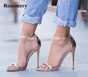 Women Simple Style One Strap Patent Leather Rose Pink Thin Heel Sandals Ankle Strap High Heel Sandals Formal Dress Shoes