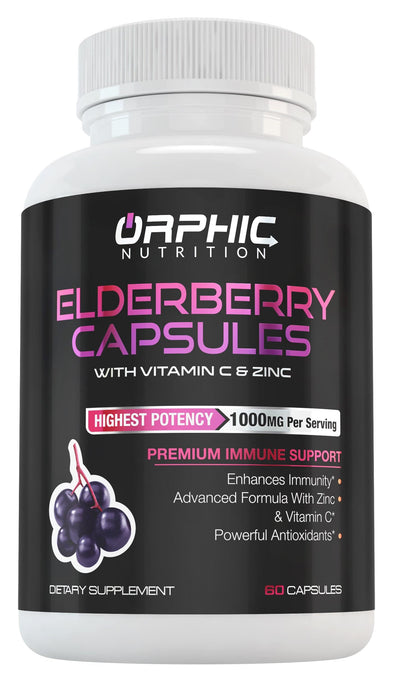 Elderberry Capsules with Zinc & Vitamin C for Immunity Support & Energy Boost