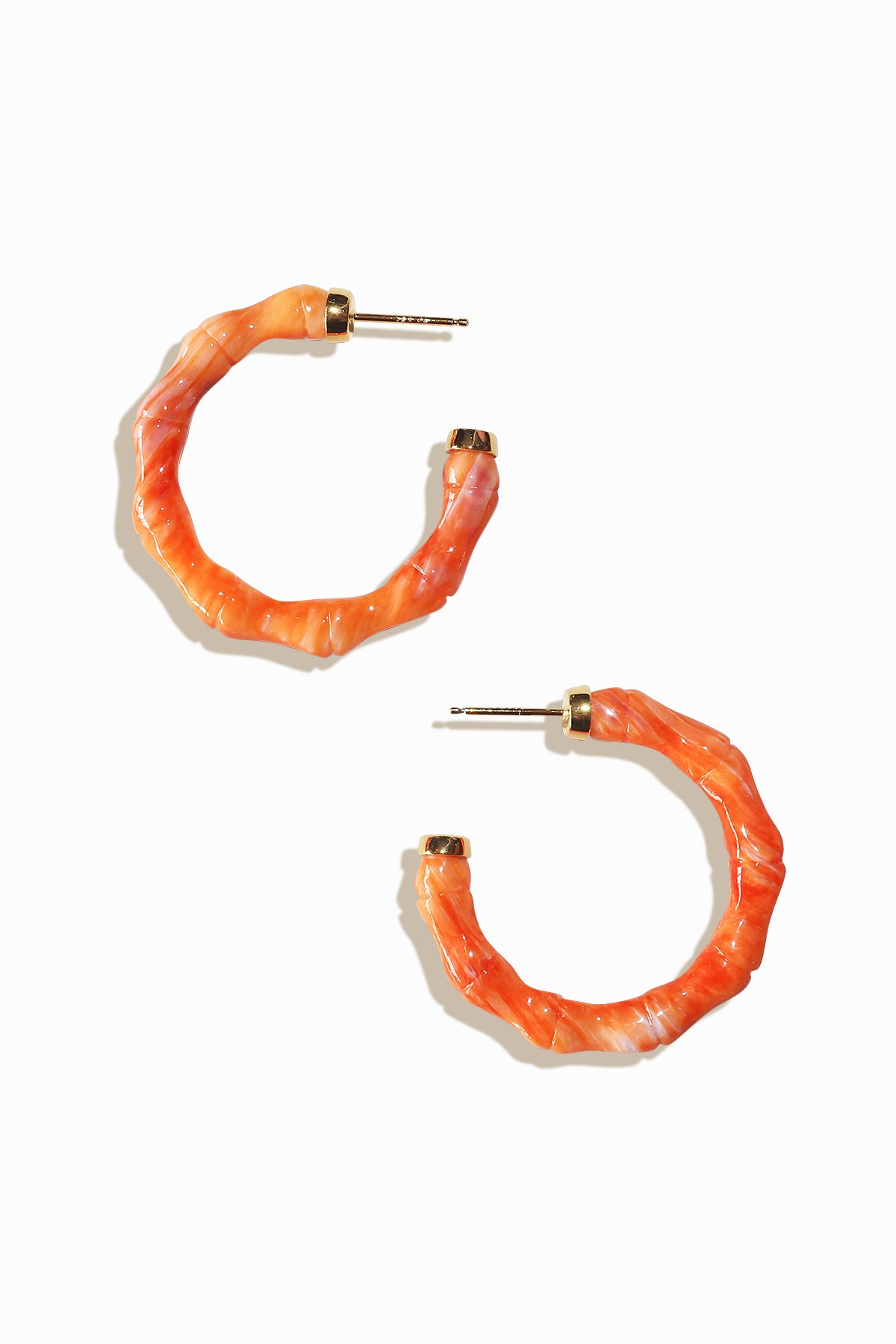 Coral Bali Hoop Earrings