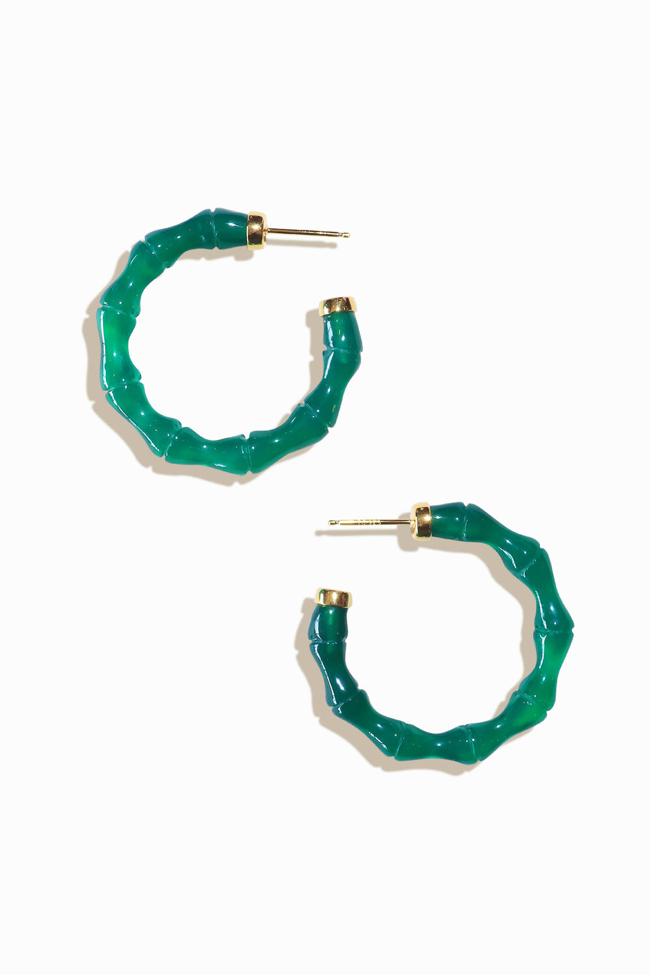 Green Bali Hoop Earrings