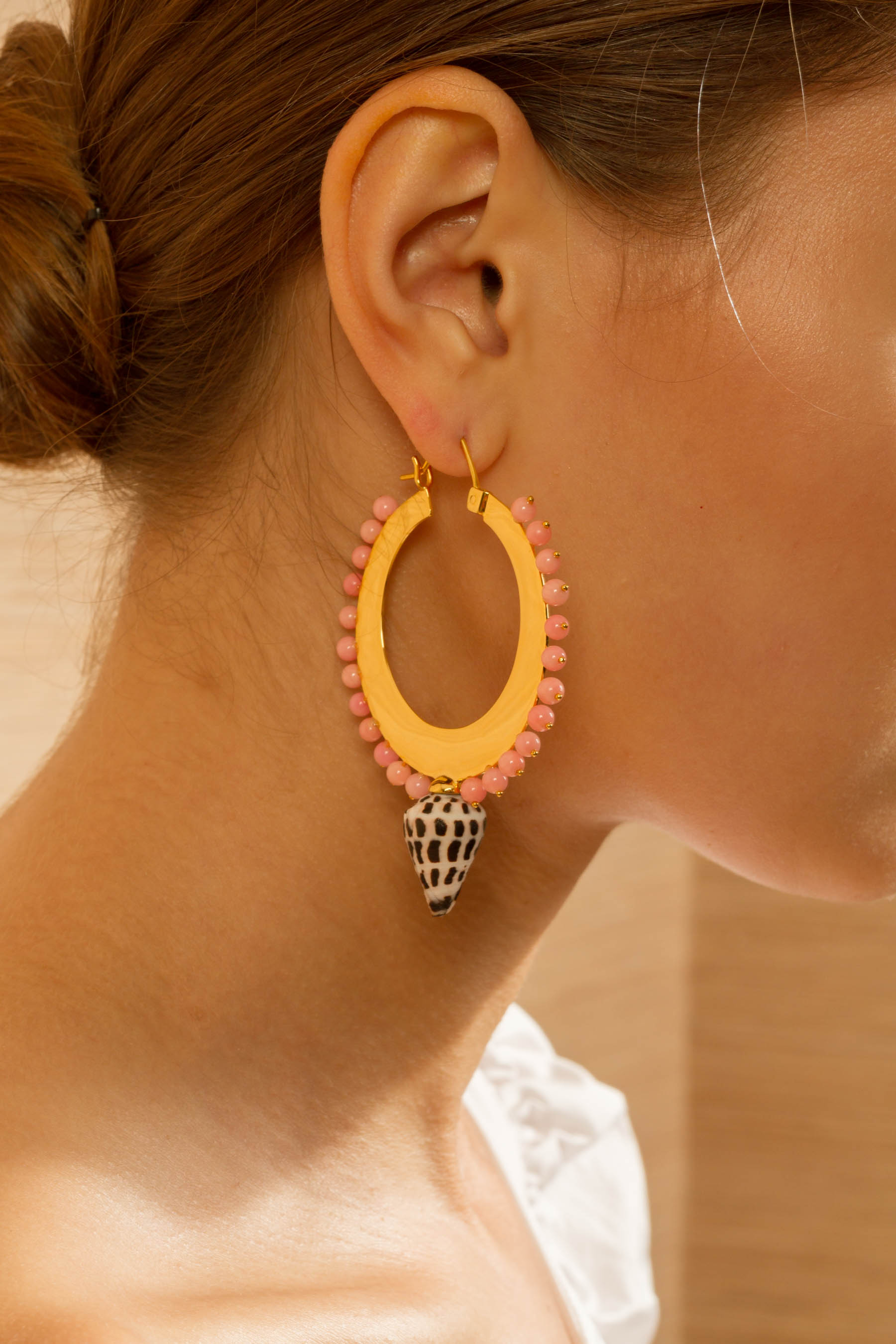 Diego Large Hoops in Pink Coral