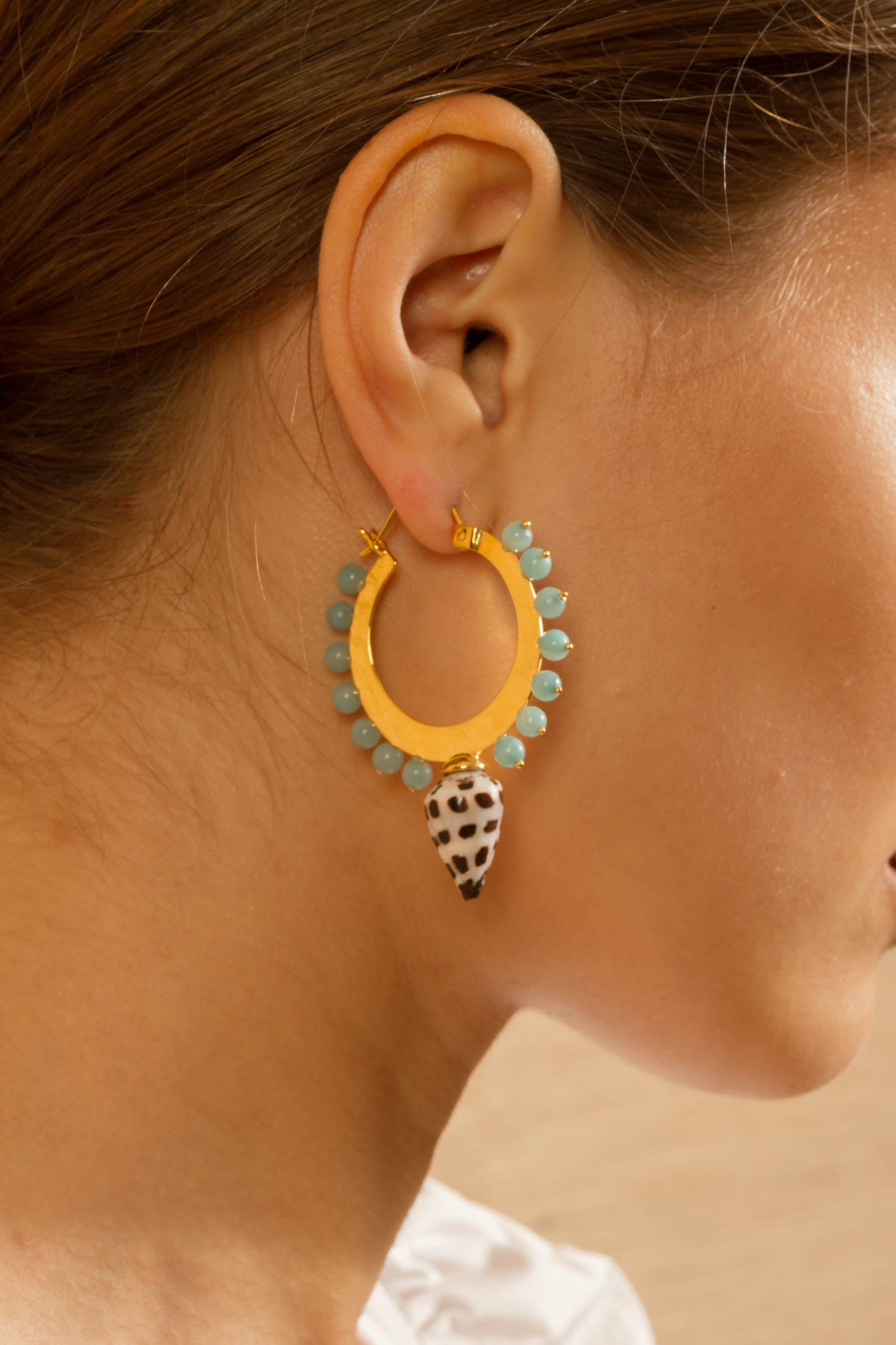 Deigo Small Hoops in Amazonite