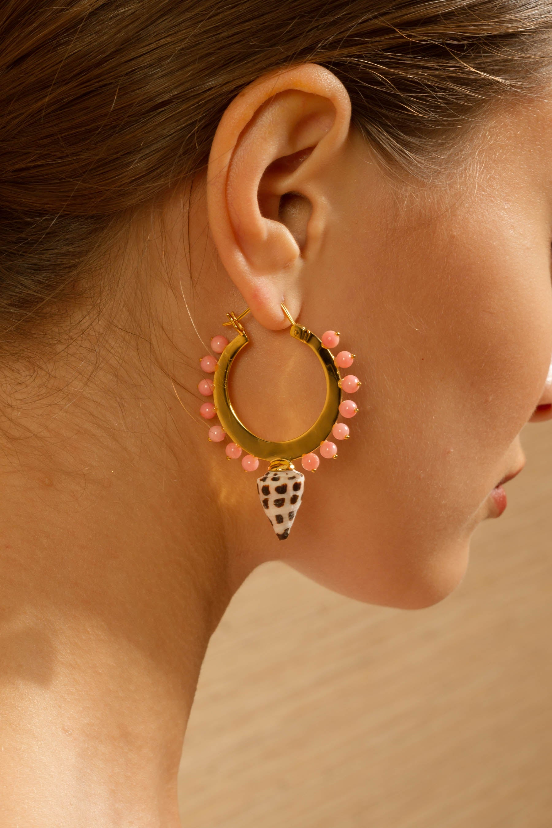 Deigo Small Hoops in Coral