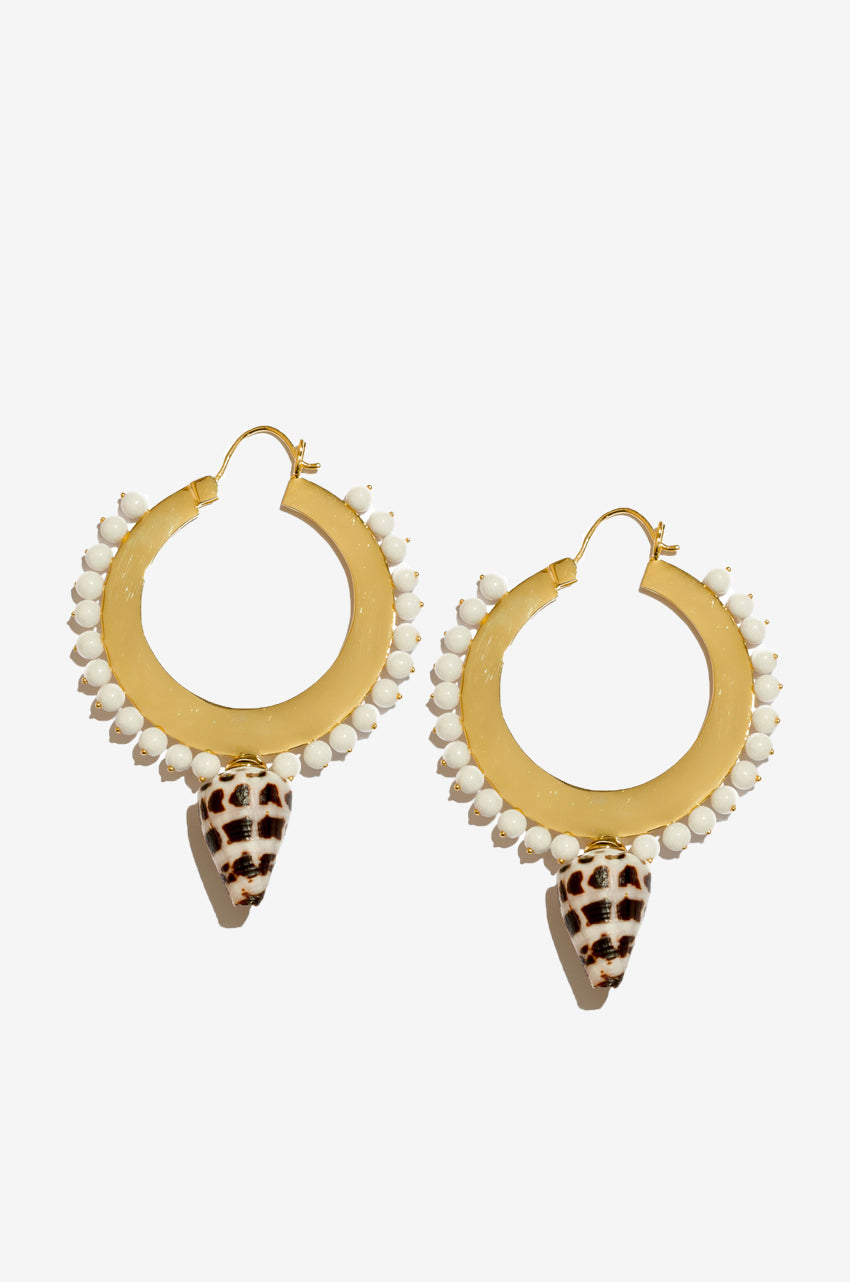 Diego Large Hoops in White Conch