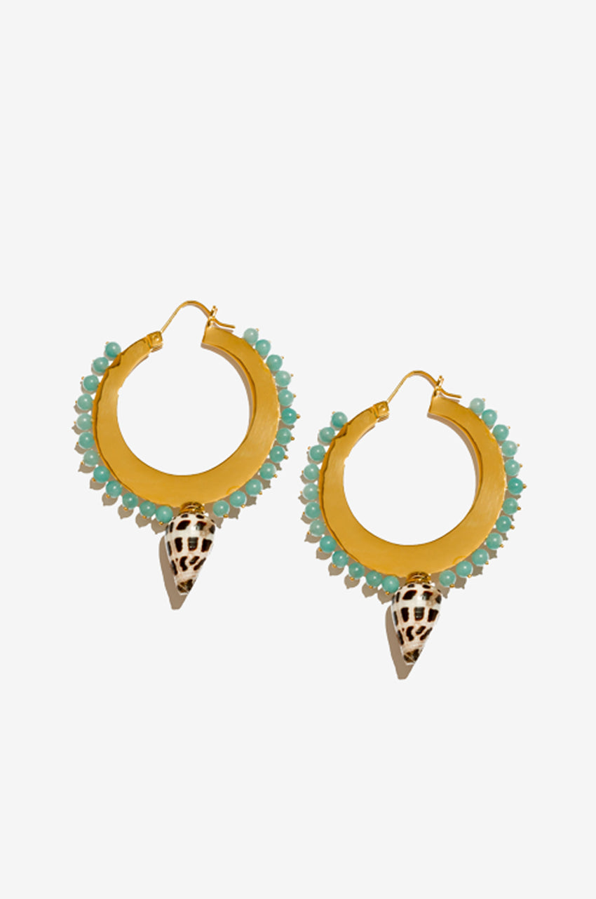 Diego Large Hoops in Amazonite