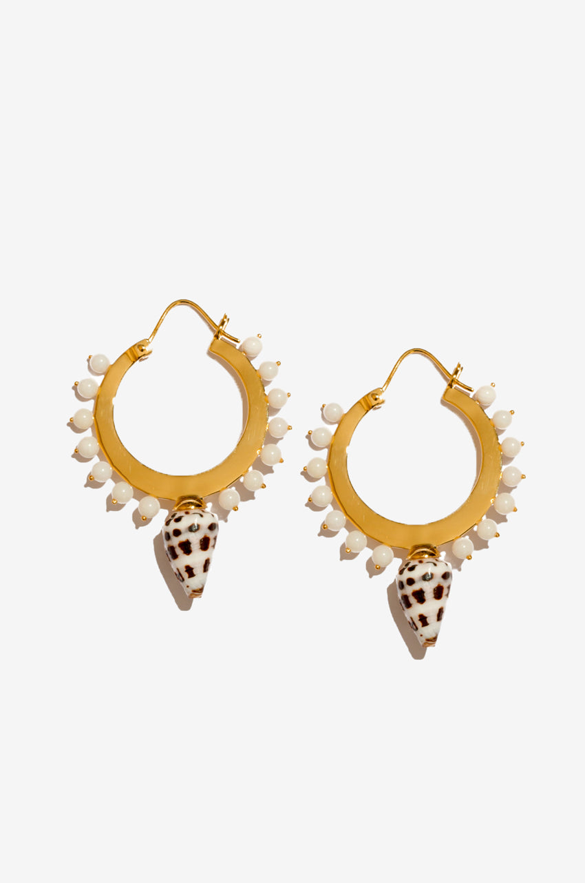 Deigo Small Hoops in White Conch