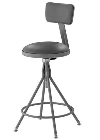 6500 Series Swivel Lab Stool - Adjustable Height with Backrest