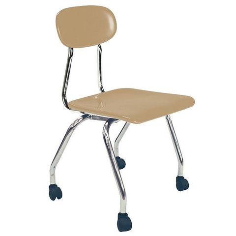"Hard Plastic Seating Series Conventional School Chair - 18"" with Casters"