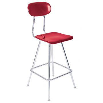 "Educational Series Lab Stool - 18""-24"" Height Adjustable with Back"