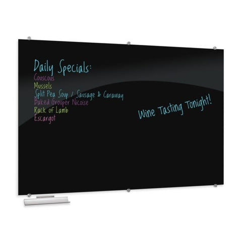 Visionary Black Magnetic Glass Dry Erase Whiteboard