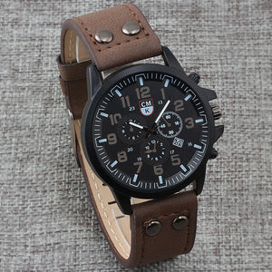 Leather strap Calendar Quartz Men Watch