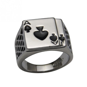 Silver Men's ACE Ring